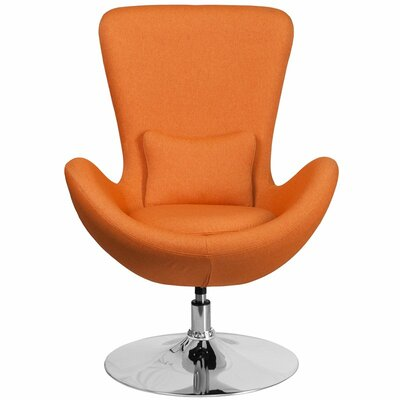 Whicker Leather Lounge Chair Seat Color: Orange