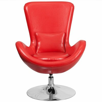 Whicker Leather Lounge Chair Seat Color: Red