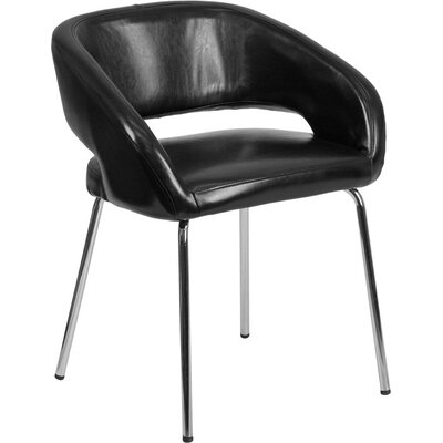 Whicker Leather Lounge Chair Seat Color: Black