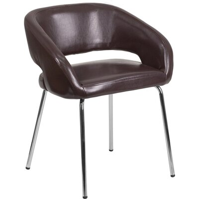 Whicker Leather Lounge Chair Seat Color: Brown