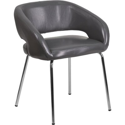 Whicker Leather Lounge Chair Seat Color: Gray