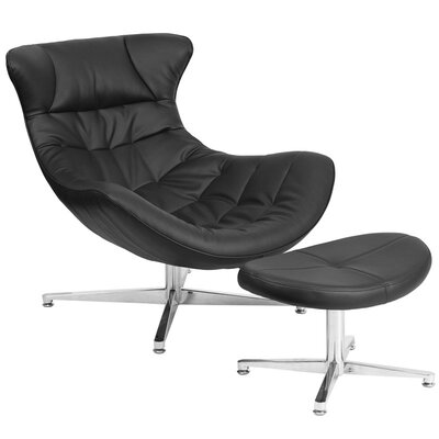 Wheatley Leather Lounge Chair with Ottoman Seat Color: Black