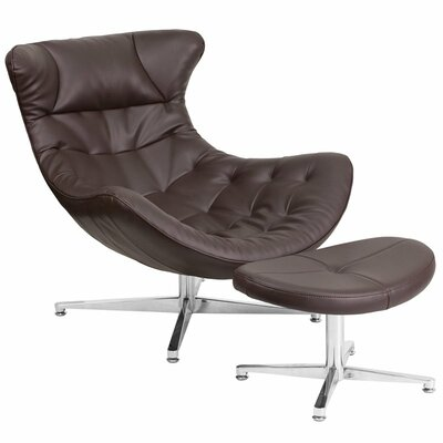 Wheatley Leather Lounge Chair with Ottoman Seat Color: Brown