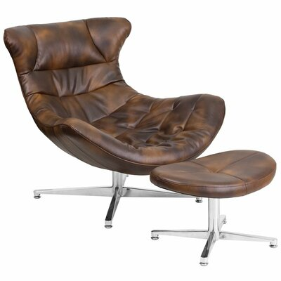 Wheatley Leather Lounge Chair with Ottoman Seat Color: Bomber