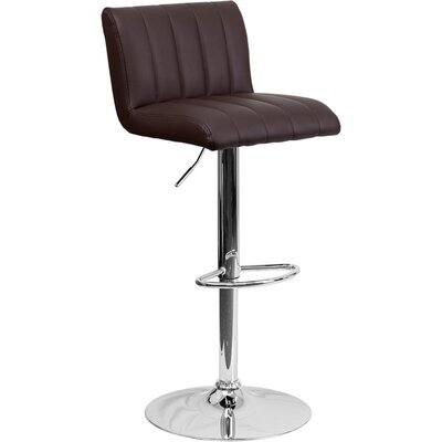 Whelan Low Back Adjustable Height Swivel Bar Stool Upholstery: Brown