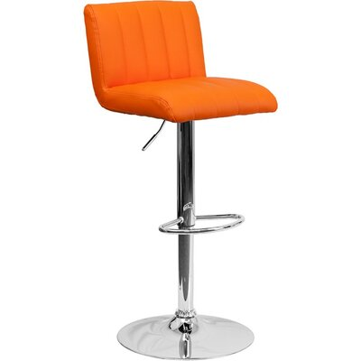 Whelan Low Back Adjustable Height Swivel Bar Stool Upholstery: Orange