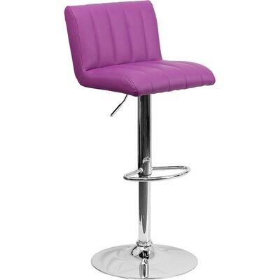 Whelan Low Back Adjustable Height Swivel Bar Stool Upholstery: Purple