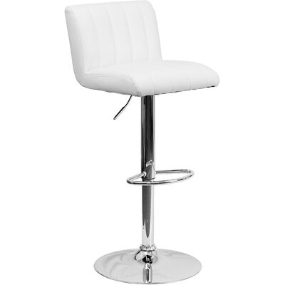 Whelan Low Back Adjustable Height Swivel Bar Stool Upholstery: White
