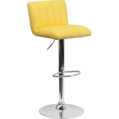 Whelan Low Back Adjustable Height Swivel Bar Stool Upholstery: Yellow
