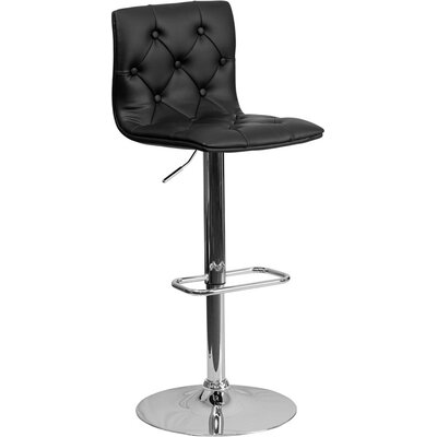 Outen Mid Back Tufted Adjustable Height Swivel Bar Stool Upholstery: Black