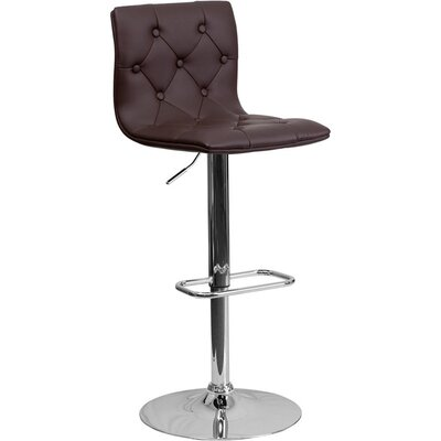 Outen Mid Back Tufted Adjustable Height Swivel Bar Stool Upholstery: Brown