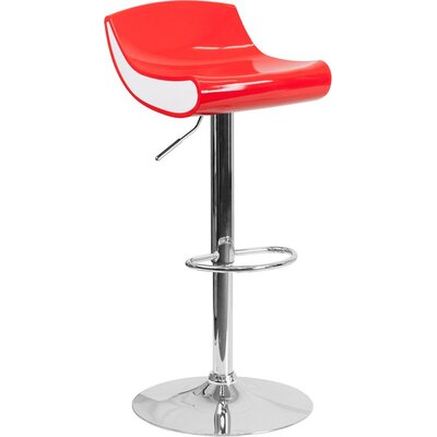 Whelan Adjustable Height Swivel Bar Stool Color: Red/White