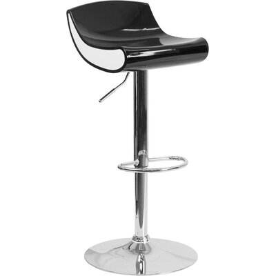 Whelan Adjustable Height Swivel Bar Stool Color: Black/White