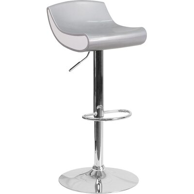 Whelan Adjustable Height Swivel Bar Stool Color: Silver/White