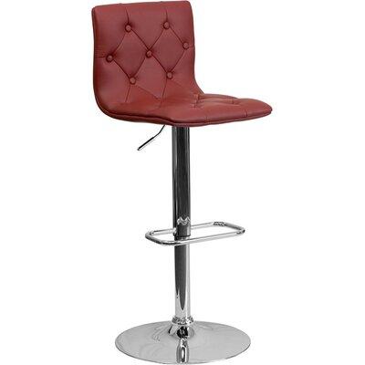 Outen Mid Back Tufted Adjustable Height Swivel Bar Stool Upholstery: Burgundy