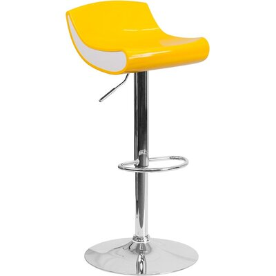 Whelan Adjustable Height Swivel Bar Stool Color: Yellow/White