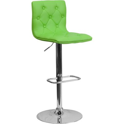Outen Mid Back Tufted Adjustable Height Swivel Bar Stool Upholstery: Green