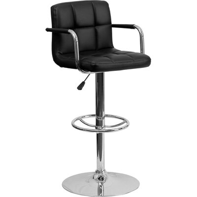 Whelan Mid Back Quilted Adjustable Height Swivel Bar Stool Upholstery: Black