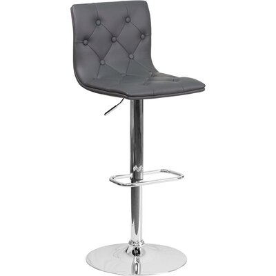 Outen Mid Back Tufted Adjustable Height Swivel Bar Stool Upholstery: Gray