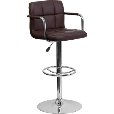 Whelan Mid Back Quilted Adjustable Height Swivel Bar Stool Upholstery: Brown