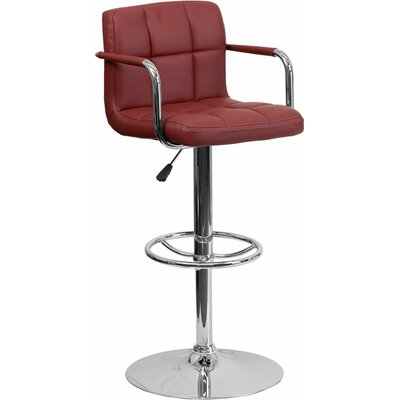 Whelan Mid Back Quilted Adjustable Height Swivel Bar Stool Upholstery: Burgundy