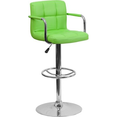 Whelan Mid Back Quilted Adjustable Height Swivel Bar Stool Upholstery: Green