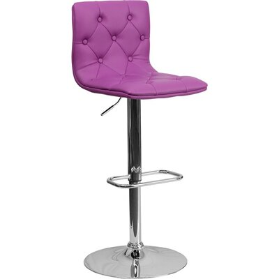 Outen Mid Back Tufted Adjustable Height Swivel Bar Stool Upholstery: Purple
