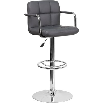 Whelan Mid Back Quilted Adjustable Height Swivel Bar Stool Upholstery: Gray