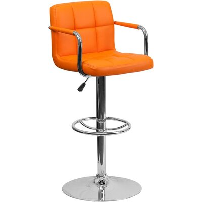 Whelan Mid Back Quilted Adjustable Height Swivel Bar Stool Upholstery: Orange