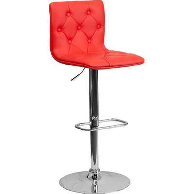Outen Mid Back Tufted Adjustable Height Swivel Bar Stool Upholstery: Red