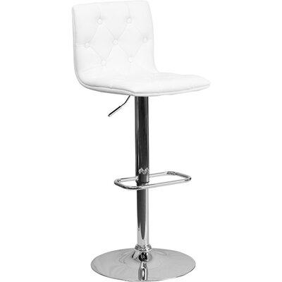 Outen Mid Back Tufted Adjustable Height Swivel Bar Stool Upholstery: White