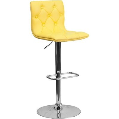 Outen Mid Back Tufted Adjustable Height Swivel Bar Stool Upholstery: Yellow
