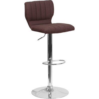 Whelan Low Back Adjustable Height Swivel Bar Stool Upholstery: Light Brown