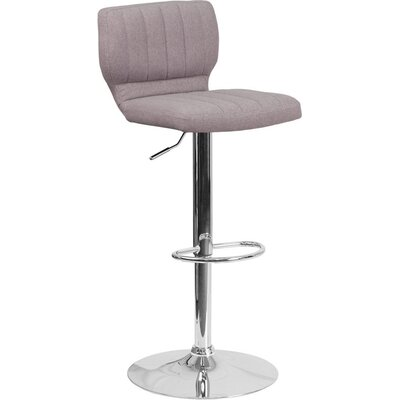Whelan Low Back Adjustable Height Swivel Bar Stool Upholstery: Light Gray