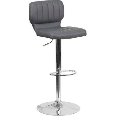 Whelan Low Back Adjustable Height Swivel Bar Stool Upholstery: Gray