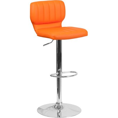 Whelan Low Back Adjustable Height Swivel Bar Stool Upholstery: Orange