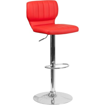Whelan Low Back Adjustable Height Swivel Bar Stool Upholstery: Red