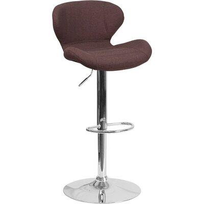 Whelan Mid Back Adjustable Height Swivel Bar Stool Upholstery: Light Brown