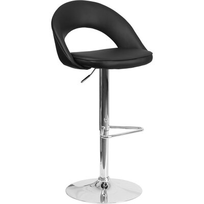 Whelan Rounded Back Adjustable Height Swivel Bar Stool Upholstery: Black