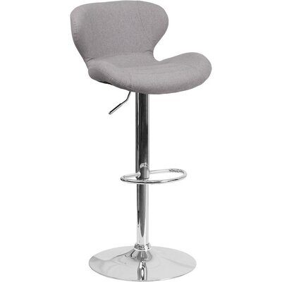Whelan Mid Back Adjustable Height Swivel Bar Stool Upholstery: Light Gray