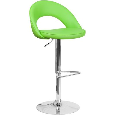 Whelan Rounded Back Adjustable Height Swivel Bar Stool Upholstery: Green