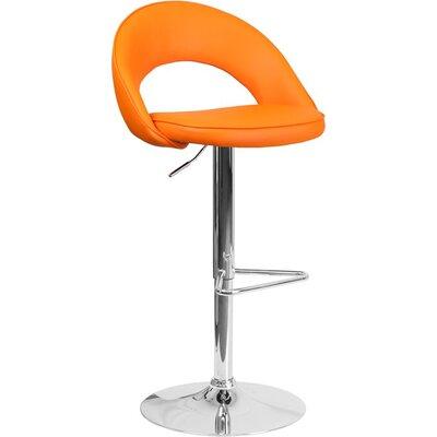 Whelan Rounded Back Adjustable Height Swivel Bar Stool Upholstery: Orange