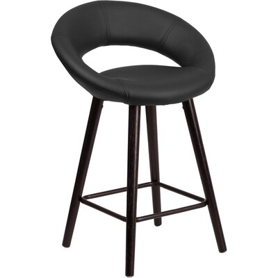 Whelan Rounded Low Back Adjustable Height Swivel Bar Stool Upholstery: Black