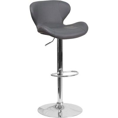 Whelan Mid Back Adjustable Height Swivel Bar Stool Upholstery: Gray