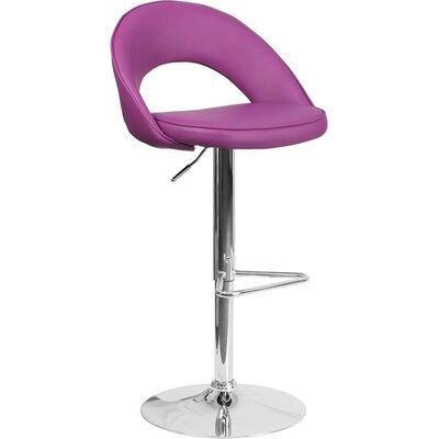 Whelan Rounded Back Adjustable Height Swivel Bar Stool Upholstery: Purple
