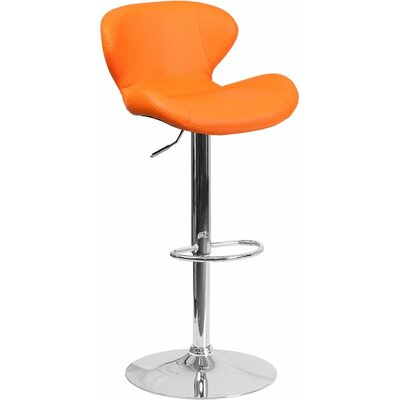 Whelan Mid Back Adjustable Height Swivel Bar Stool Upholstery: Orange