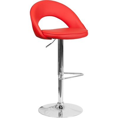 Whelan Rounded Back Adjustable Height Swivel Bar Stool Upholstery: Red