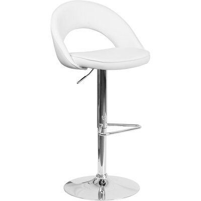 Whelan Rounded Back Adjustable Height Swivel Bar Stool Upholstery: White