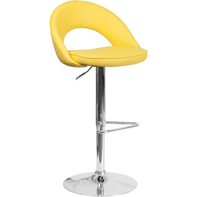 Whelan Rounded Back Adjustable Height Swivel Bar Stool Upholstery: Yellow