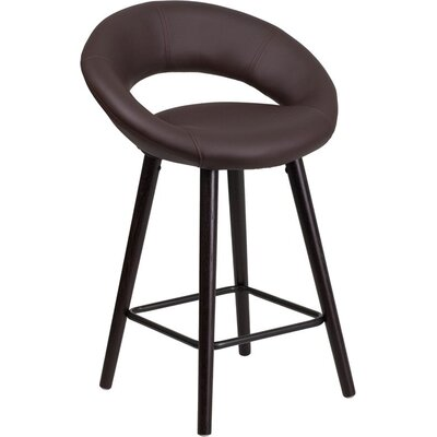 Whelan Rounded Low Back Adjustable Height Swivel Bar Stool Upholstery: Brown
